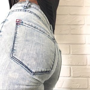 "UO BDG high rise ""twig"" acid wash skinny jeans 28"
